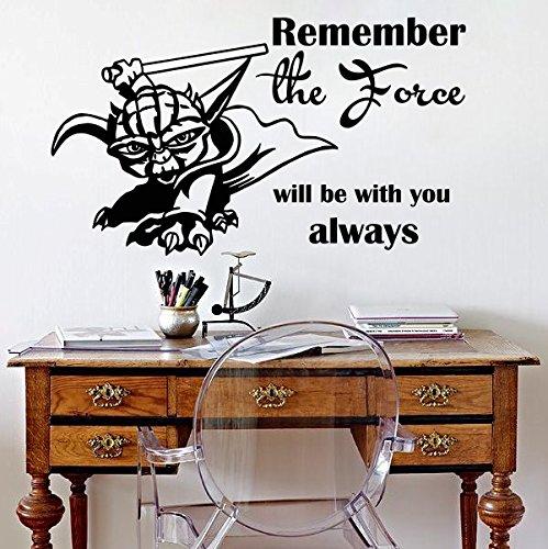 Vinyl Wandtattoo Zitat Remember the Force Will Be With You Always Jedi-Meister Yoda Star Wars Sprüche Sprichwörter Wandaufkleber Wandsticker Wanddekoration Kinderzimmer Jugendzimmer Geschenk M180