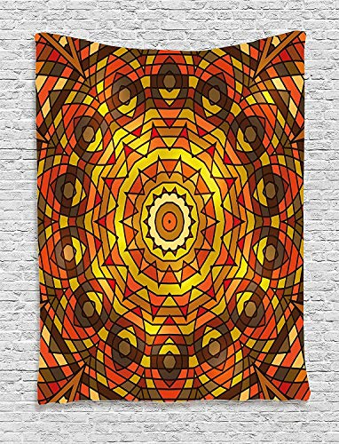 ALKKVI Tapisserie Wandbehang Wandteppiche Celtic Decor Tapestry Circular Round Celtic Motif with Spiral Turning Lines In Contrast Colors Victorian Decor Bedroom Living Room Decor 50 W x 60 L -