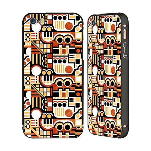 Ufficiale Shelly Bremmer Campo Di Gioco Geometrico Nero Cover Contorno con Bumper in Alluminio per Apple iPhone 5 / 5s / SE Fuga