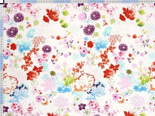 Tessuto da tappezzeria, rivestimento in tessuto, tessuto da tappezzeria, tessuto, tessuto della tenda, tessuto - Flowerpower, pastello - colorati tessuto in cotone con disegno