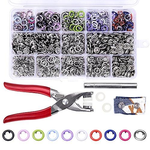 craftsman168 200 Stücke 9,5mm Druckknöpfe, Poppers Ring Drücken Sie Druckknopf mit Hand Drücken Zangen Tool Kit für Lätzchen Benutzerdefinierte Kleidung oder DIY Projekte