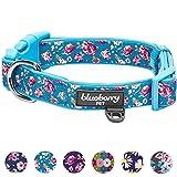 Blueberry Pet Weich & Angenehm Winterblumen Rosendruck Himmelblau Gepolstertes Hundehalsband, L, Hals 45cm-66cm