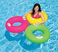 """Heer Inflatable Hi-Gloss Swim Tubes Features Deflated Size: 30"""" (76 cm) diameter 8 ga. (0.20mm) vinyl Available in green,yellow and pink colors Heavy duty handles"""