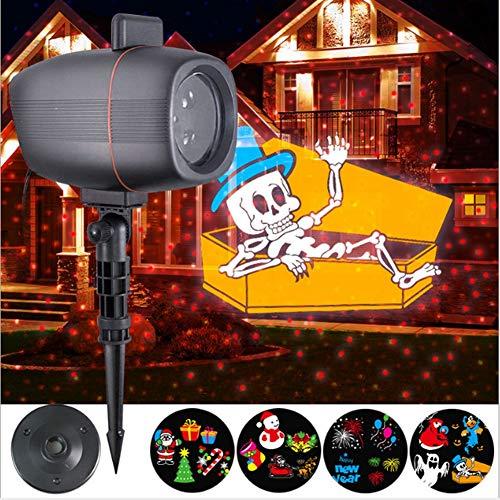 TOOSD Weihnachtsschmuck Halloween-Projektor,4 Modi LED-Leuchten für Außenbeleuchtung,Wasserdichte Gartenbeleuchtung,Szene-Beleuchtung,ideal für Urlaub,Party, Karneval usw.