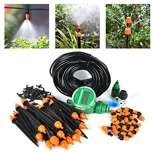 Automatico 25 m DIY micro sistema di irrigazione a goccia impianto d' irrigazione giardino tubo kit per giardino paesaggistico aiuola con timer automatico