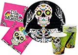 "Ciao Y4386 - Kit Party Tavola  Halloween ""Dia de los Muertos"" per 12 persone 12 piatti carta Ø23cm, 12 bicchieri plastica 200ml, 12 tovaglioli carta 33x33cm)"