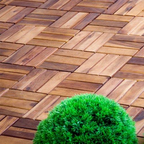STILISTA® 11er Set 1m² Holzfliese Akazie 30x30x2,4cm, Terrassenfliese TFT zertifiziert, geölt, verzinkte Schrauben, Balkonfliese Stecksystem -