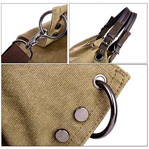 Guo Jinlian68 Damen Cavans Handtasche Schultertasche Crossbody Bag Umhängetasche kaffeebraun khaki