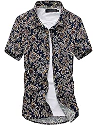 Men's Shirts Hawaiian Floral Style Plaid Shirt Summer Casual Short Sleeve Funky Printed Fancy Tops Unique Pattern S-L