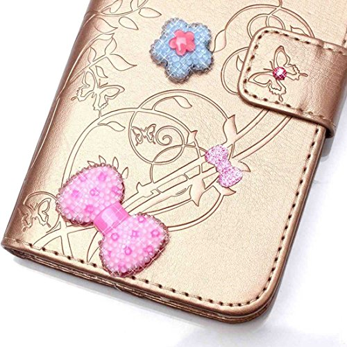 iPhone 7 Plus Coque ( Bleu ), Cuir Etui Rabat Style Portefeuille Case Avec Carte Slots pour Apple iPhone 7 Plus 5.5 inch Avec 3D Bling Cristal Strass Rose Love-Hearts Bowknot or