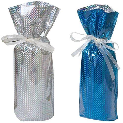 Gift mate Geschenk Mate Wein Flasche Geschenk Tasche (Set von 5), silber/gold