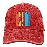 Fashion Home NavyLife Unisex Retro Austin Guitar Washed Cotton Denim Baseball Cap Vintage Adjustable Dad Hat for Men Women Red
