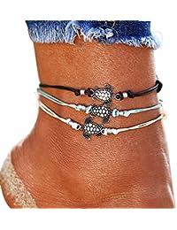 Vintage Tortue de mer Cheville, plusieurs couches Femme Cheville rétro Corde Mode coloré de plage de cheville Bracelet chaîne Animal Pied Bijoux pour femme Lady Fille Cadeau