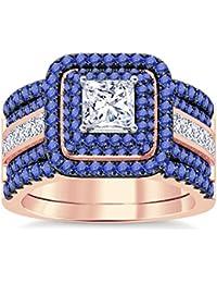 Silvernshine Enhancer Ring Guard & Engagement Ring Set Rose Gold Plated Tanzanite Sim Diamonds