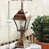 Sockelleuchte im Antik-Look aus Aluguß IP43 E27 230 Volt Außenleuchte Gartenleuchte Beleuchtung für Hof Garten Aussen