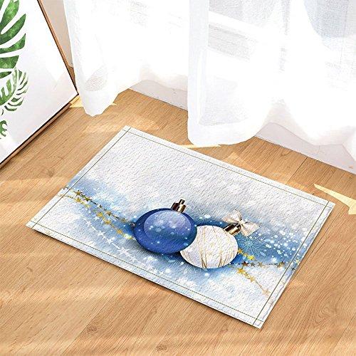Christmas decor blu e bianco palle di natale con stelle dorate da bagno tappeto antiscivolo zerbino floor entryways indoor anteriore zerbino tappetino per bambini 60x 40cm da bagno.