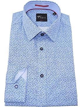 Venti Herrenhemd bodyfit blaues Hemd mit Druck langarm Kent Kragen ohne Tasche Kollektion Size 38