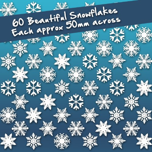 60 Individual Snowflake Window Cling Stickers - Seasonal Christmas Window Decorations by Stickers4