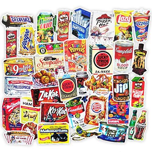 Personalità Europa E Stati Uniti Retro Snack Bagagli Trolley Valigia Adesivi Computer Skateboard Adesivi Per Chitarra 37 Pz