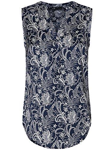 oodji Collection Damen Druckbluse mit V-Ausschnitt Blau (7912E)