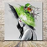 XIAOXINYUAN 100% Handgemalt Öl Malerei Abstrakte Grüne Kappe Frauen Rote Lippen Moderne Kunst Wand Bild Für Wohnzimmer Home Decor 60 × 60 cm