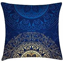 Funda de cojín de color azul real con diseño vintage de cultura oriental tradicional, circular