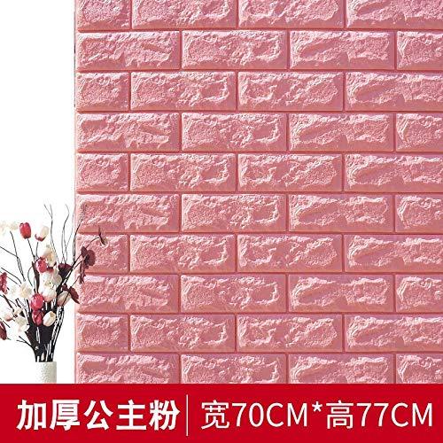 Zcheng, carta da parati 3d in gommapiuma autoadesiva, motivo: mattoni di pietra, decorazione da parete moderna, decorazione da cucina, colore rosa, 70 cm x 38 cm