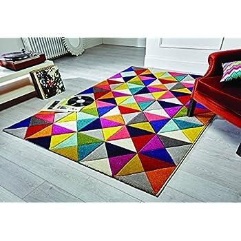 ba5a8e050ad Flair Rugs Modern Designer Rug Mat – Abstract Spectrum Samba –  Multi-Coloured
