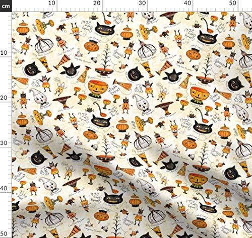 Geist, Vintage Stil, Candy Corn, Schwarze Katze Stoffe - Individuell Bedruckt von Spoonflower - Design von Johannaparkerdesign Gedruckt auf Bio Musselin -