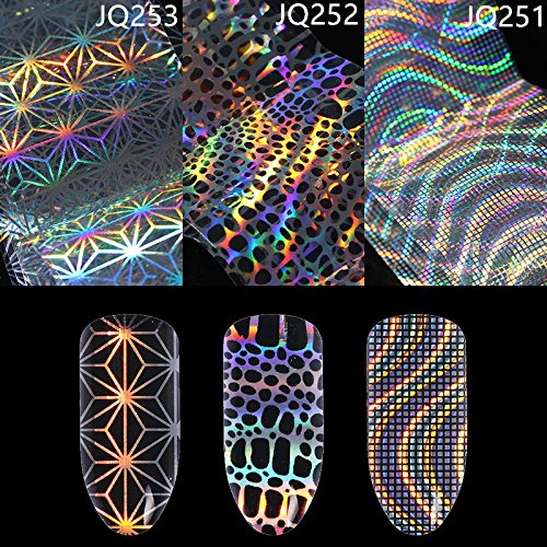 CoulorButtons 4*100cm Irregular Grid Waves Holographic Starry Nail Foils Nail Art Laser Transfer Sticker