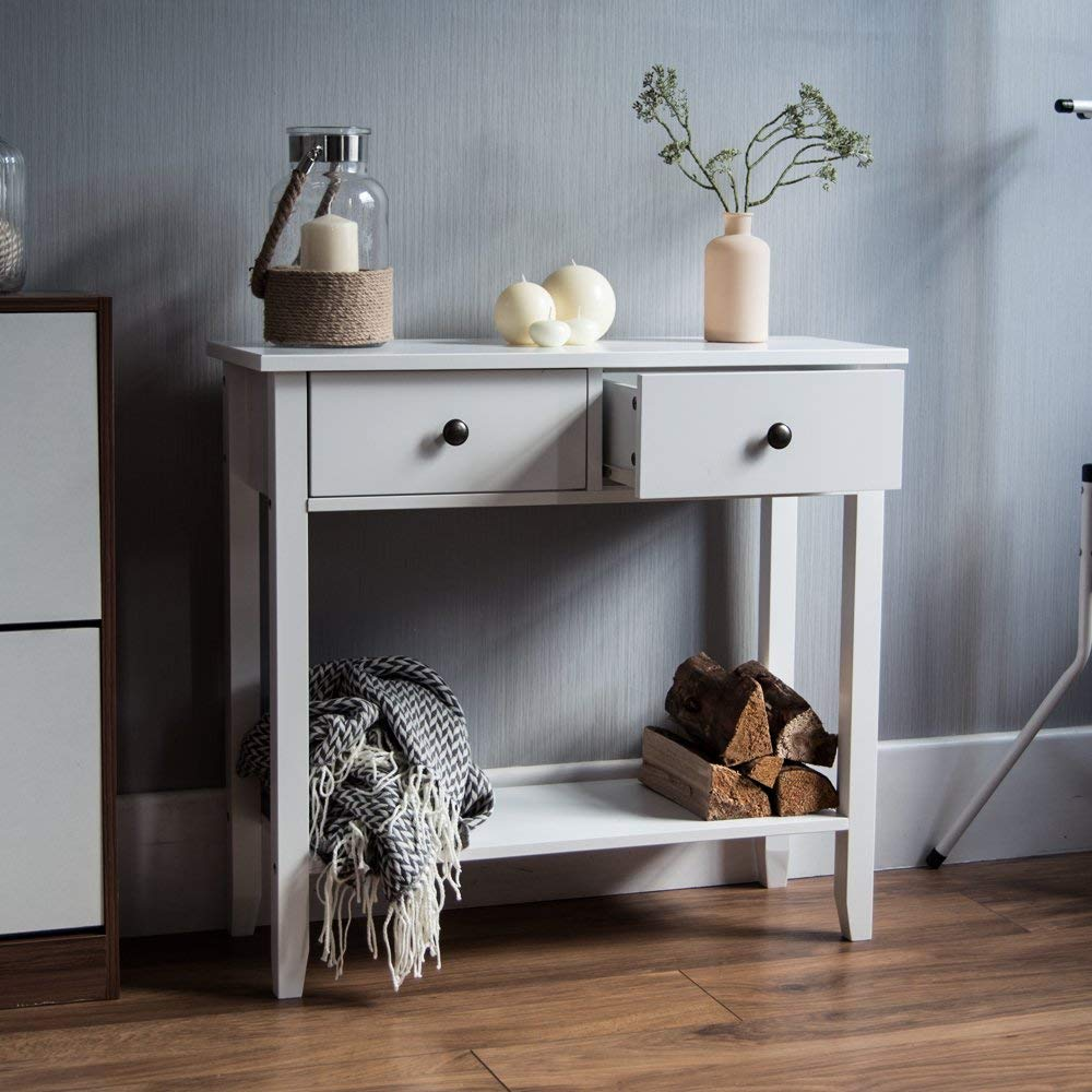 Home Discount Windsor 2 Drawer Console Table With Shelf White