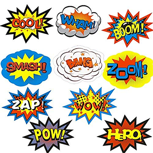 m Superhero Party Stickers for Kids Craft Superhero Word Cutouts ()