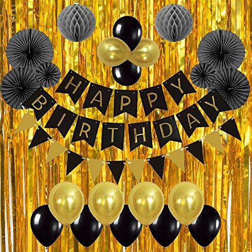 Diossad Decoración de fiesta de cumpleaños de fondo Conjunto Honeycomb Papel Linterna Globo Lluvia cortina Borla Papel Flor Bola