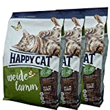 3 x 10 kg Happy Cat Katzenfutter Supreme Weide Lamm