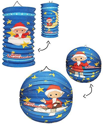 2 tlg. Set: Papier Laternen / Lampions - Unser Sandmännchen - für Kinder Papierlaterne - Laterne Lampion - Figuren - für Laternenumzug - Mädchen Jungen - Sandmann Mond