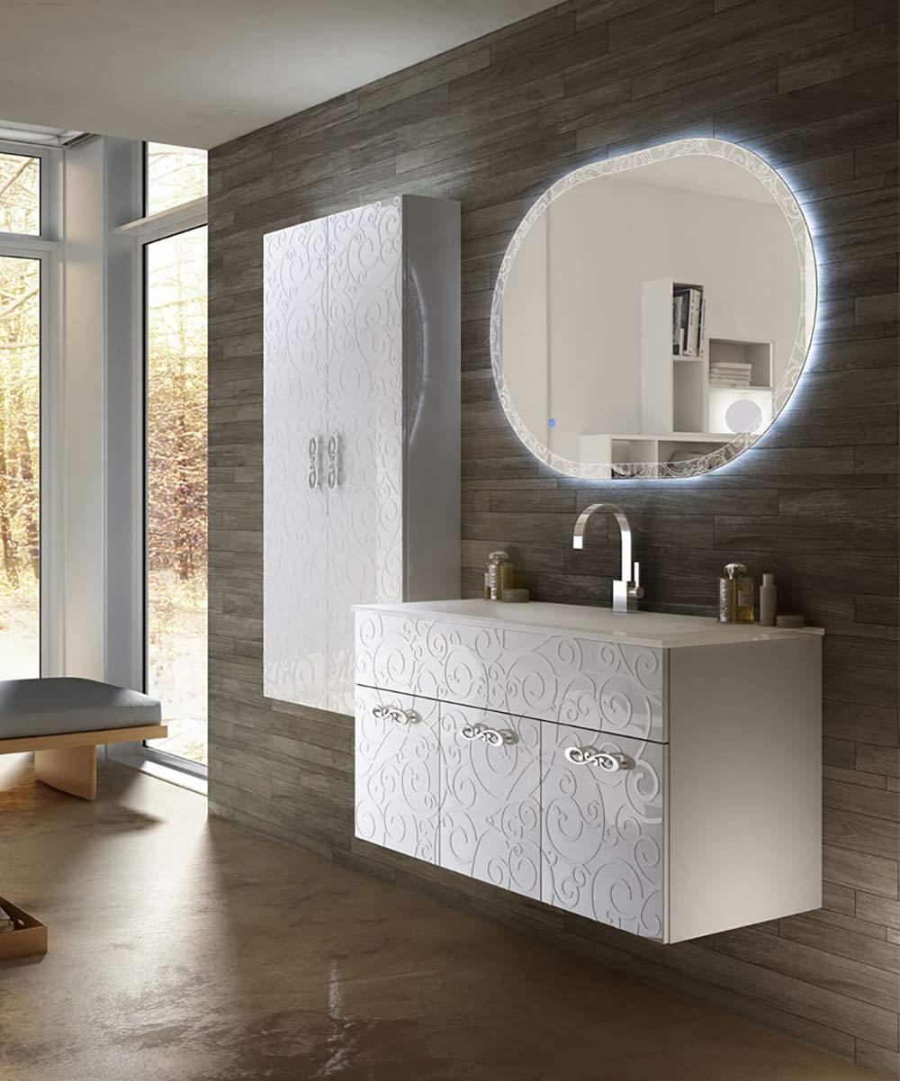 Specchio Bagno Led 100.Mobile Bagno Sospeso Moderno Floreale Miami Bianco Lucido Misura