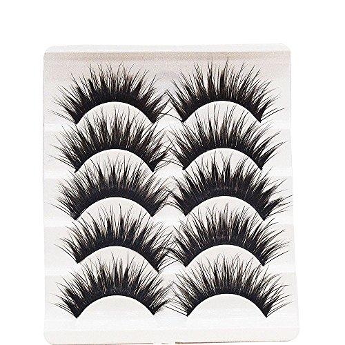 wyxhkj faux cils Grande vente! 5 paires/lot entrecroisées False Eyelashes Lashes Cils volumineux pour les yeux (B)