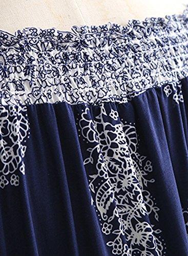 Futurino Damen Sommer Bandeau Floralem Langarm Kleider mit Belt Einfarbig