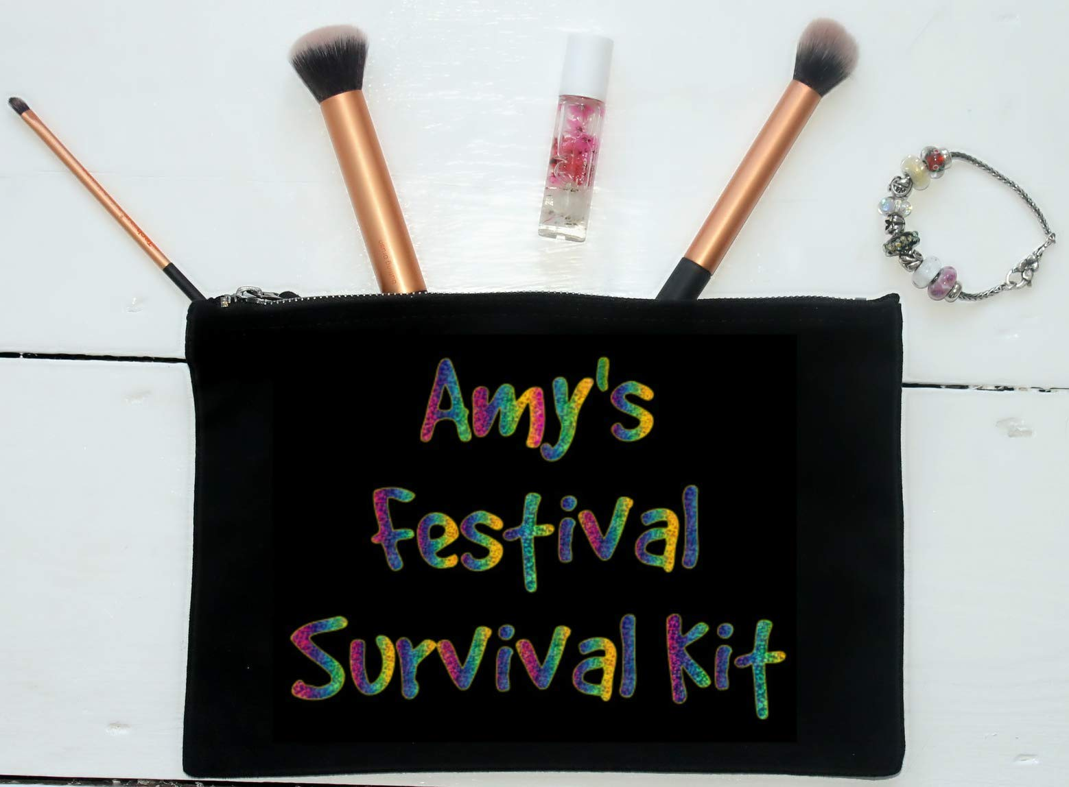 Festival Survival Kit, Personalised Make Up Bag