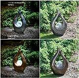 Vintage solarbetriebene Garten Skulptur mit Wunderschöne Solar Crackle Ball–Stone & Bronze