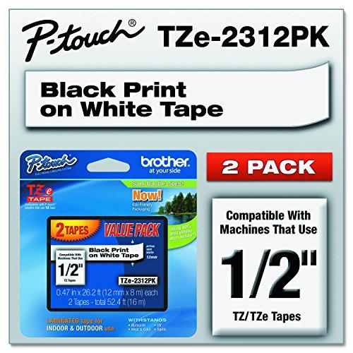 Preisvergleich Produktbild TZe Standard Adhesive Laminated Labeling Tapes,  1 / 2w,  Black on White,  2 / Pack