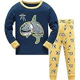 Pijama Niño Invierno Pijamas Dinosaurio Tiburón Animales para Niños-Manga Larga Niño Ropa de algodón Traje Dos Piezas 3 4 5 6