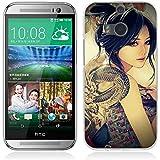 Funda HTC One M8 - Fubaoda - Alta Calidad Muchacha de la historieta del helado Pintura artística de la Serie, Gel de Silicona TPU, Fina, Flexible, Resistente a los arañazos en su parte trasera, Amortigua los golpes, funda protectora anti-golpes para HTC One M8