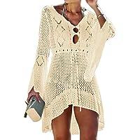 Jinsha Woman Loose Beach Dress V Neck Long Sleeve Loose Bikini Cover Up Swimwear Cover Up Fluid Blouse Tunic for…