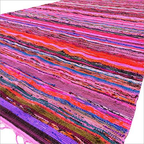 Eyes of India - 5 X 8 ft Bunt Pink Dekorativ Gewebt Bereich Teppich Teppich-Chindi Bohemian Boho Indisch - Pink #7 (Teppich Bereich 5x8)