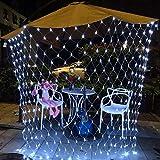 KALRTO Fairy Lampe, 1,5 X 1,5 M Outdoor Wasserdicht Mesh-Schnur-Licht, Garten-Baum Umgeben Von 120 Lichtern, Innen Vorhang Sternenlichter White