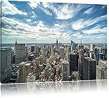 New York Skyline Format: 120x80 cm auf Leinwand, XXL riesige Bilder fertig gerahmt mit Keilrahmen, Kunstdruck auf Wandbild mit Rahmen, günstiger als Gemälde oder Ölbild, kein Poster oder Plakat