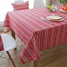 Mantel de mesa, Mantel americano Rústico Estilo Navideño Raya Mesa de comedor Mesa de centro Rectángulo Cuadrado , Mantel de hotel ( Color : Rojo , Tamaño : 140*160cm )