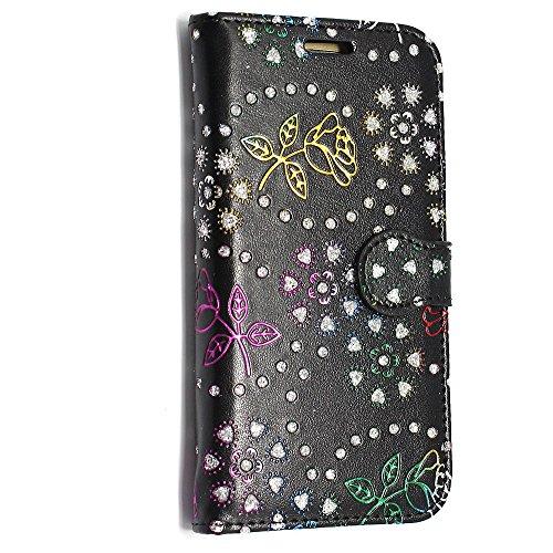 Kamal Star® Klappschutzhülle fürs Handy, aus Kunstleder, mit Standfunktion, für verschiedenen Apple-Handys, mit Magnetschließe, inkl. Eingabestift, Kunstleder, Blue Book, iPhone 5 5S Rose Black Diamond Book