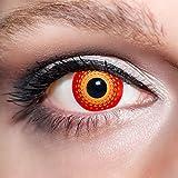 KwikSibs farbige rote Kontaktlinsen Dämonenaugen 1 Paar (= 2 Linsen) weiche Funlinsen inklusive Behälter (Stärke / Dioptrie: 0 (ohne))